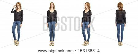 Skinny Brunette Fashion Model In Black Blouse Isolated On White