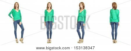 Skinny Brunette Fashion Model In Green Blouse Isolated On White