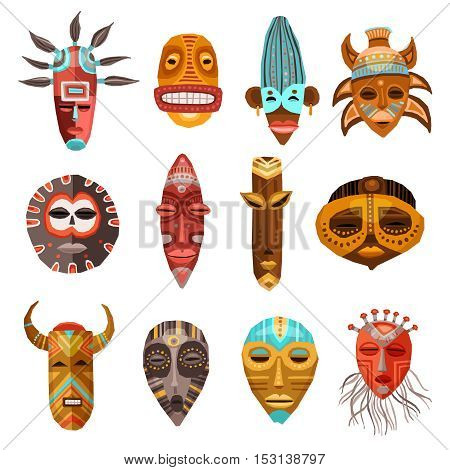 Flat set of colorful african ethnic tribal ritual masks of different shape isolated on white background vector illustration