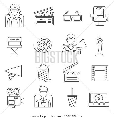 Black line cinema icons set of film popcorn video camera  oscar figurine movie tickets and director chair isolated vector illustration