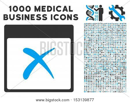 Blue And Gray Reject Calendar Page glyph icon with 1000 medical business pictograms. Set style is flat bicolor symbols, blue and gray colors, white background.