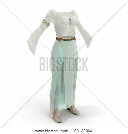Female Medieval Clothes Isolated on White Background. 3D illustration