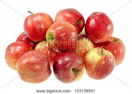 picture ripe red apples on a white background