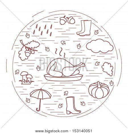 Autumn Symbols In Circle. Umbrella, Acorns, Turkey, Rain, Pumpkin And Other Fall Symbols.