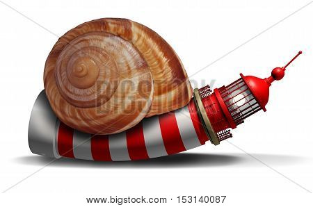 Slow guidance concept and stagnant direction guide with a lighthouse or light house shaped as a snail as a business symbol of delayed strategy information with 3D illustration elements.