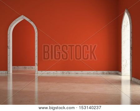 Interior of empty room with red wall 3D illustration