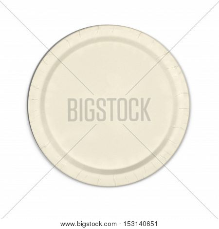 Disposable paper plate isolated on a white background. Top view. 3D illustration