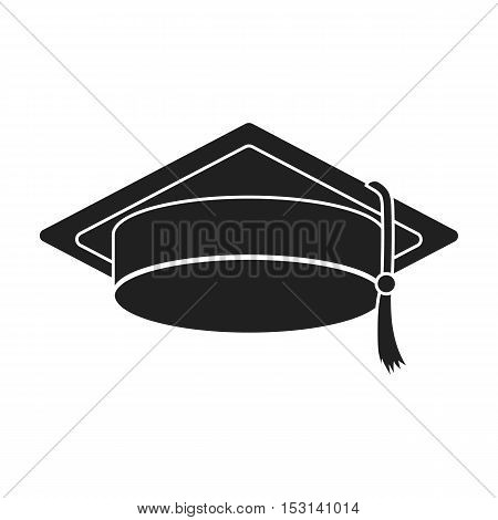 Graduation cap icon in black style isolated on white background. Hats symbol vector illustration.