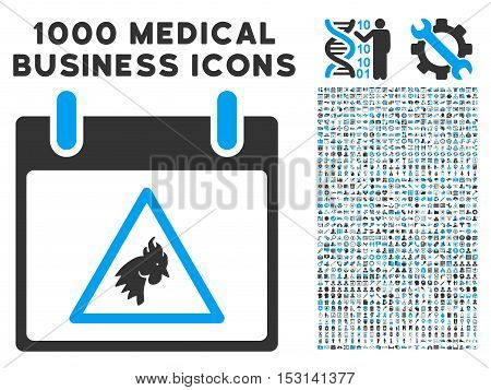 Blue And Gray Rooster Warning Calendar Day glyph icon with 1000 medical business pictograms. Set style is flat bicolor symbols, blue and gray colors, white background.