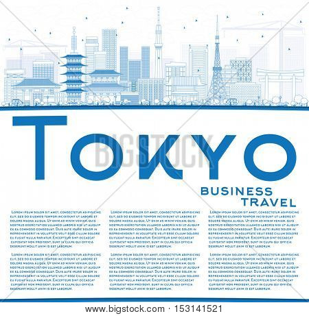 Outline Tokyo Skyline with Blue Buildings and Copy Space. Vector Illustration. Business Travel and Tourism Concept with Modern Architecture. Image for Presentation Banner Placard and Web Site.