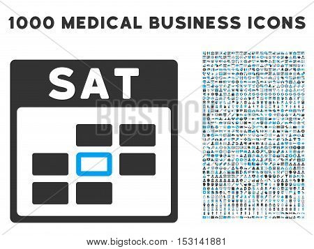 Blue And Gray Saturday Calendar Grid glyph icon with 1000 medical business pictograms. Set style is flat bicolor symbols, blue and gray colors, white background.
