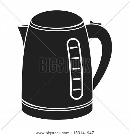 Electrical kettle icon in black style isolated on white background. Household appliance symbol vector illustration.