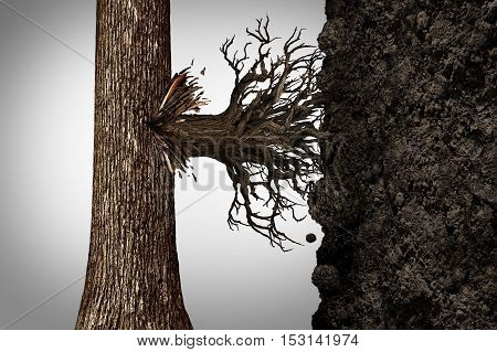 Change strategy and modify business growth plan concept or find a new revenue source as a tree sprouting roots on the side of the bark to access vertical soil as a financial concept with 3D illustration elements.