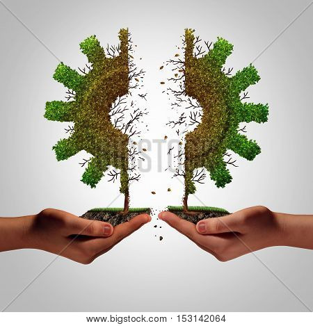 Business failure and partnership separation as human hands rearing apart a tree shaped as an industry gear symbol as a corporate metaphor for financial split and economic division resulring in weakness with 3D illustration elements.