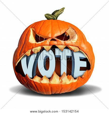 Autumn election vote symbol as a jack o lantern pumpkin biting into a 3D illustration of text as a presidential voting symbol or a seasonal fall voter icon or halloween costume contest.
