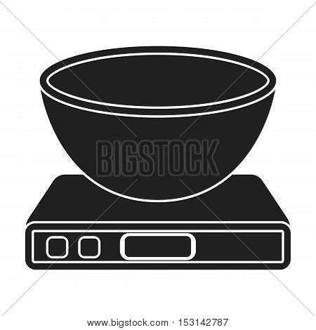 Kitchen scale icon in black style isolated on white background. Household appliance symbol vector illustration.