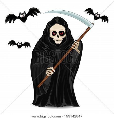 Grim Reaper for Halloween isolated on white background