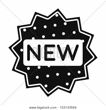 New icon in black style isolated on white background. Label symbol vector illustration.