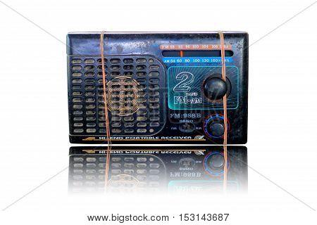 Old radio isolated on white background .