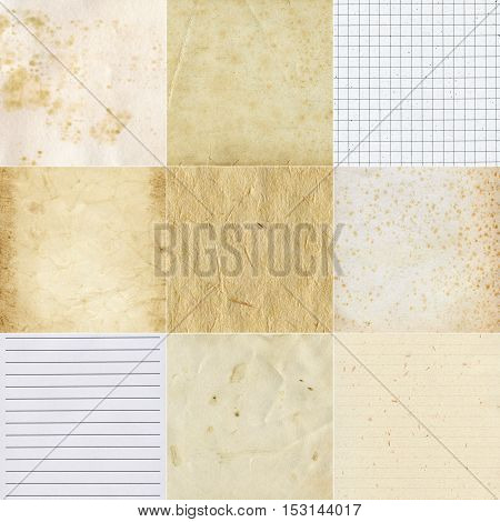 Big size collection of various paper textures