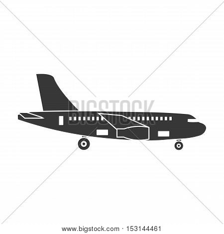 Airplane icon in black style isolated on white background. Logistic symbol vector illustration.