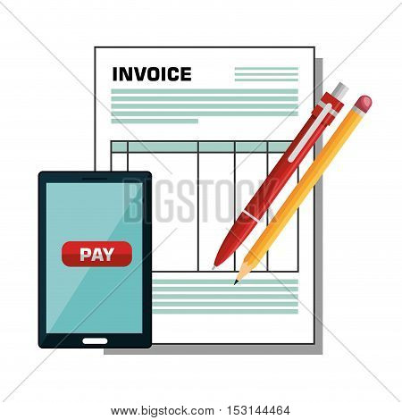 pay and commerce on line with smartphone vector illustration design