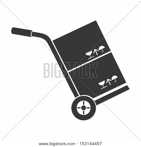Truck with boxes icon in black style isolated on white background. Logistic symbol vector illustration.