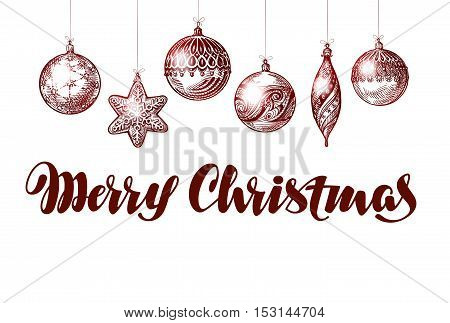 Merry Christmas. Xmas decorations and ball. Vector illustration
