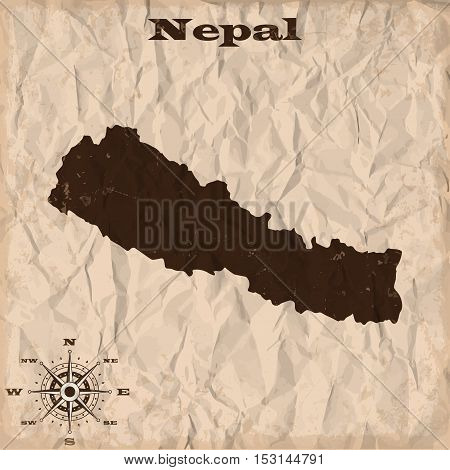 Nepal old map with grunge and crumpled paper. Vector illustration
