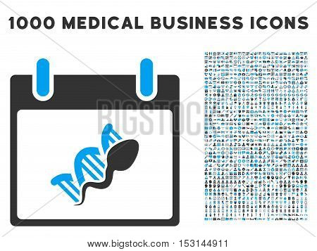 Blue And Gray Sperm DNA Replication Calendar Day glyph icon with 1000 medical business pictograms. Set style is flat bicolor symbols, blue and gray colors, white background.