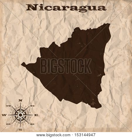 Nicaragua old map with grunge and crumpled paper. Vector illustration