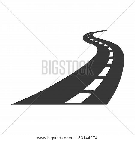 Road icon in black style isolated on white background. Logistic symbol vector illustration.