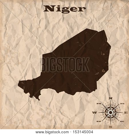Niger old map with grunge and crumpled paper. Vector illustration