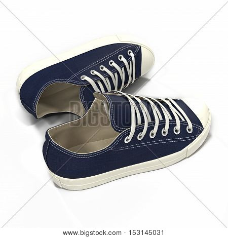 Convenient for sports mens blue sneakers. Presented on a white background. 3D illustration