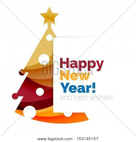 2017 New Year and Christmas holiday elements. Vector abstract geometric design with white space for text