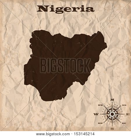 Nigeria old map with grunge and crumpled paper. Vector illustration