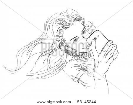 Teenage girl with beautiful long hair taking selfie, Vector sketch Hand drawn illustration