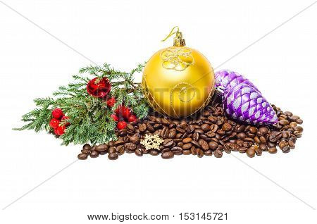 Christmas coffee beans, on a white background. Branch of juniper and holiday decorations.