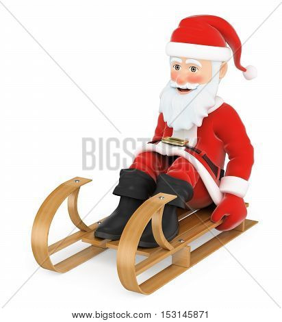 3d christmas people illustration. Santa Claus sleigh riding. Isolated white background.