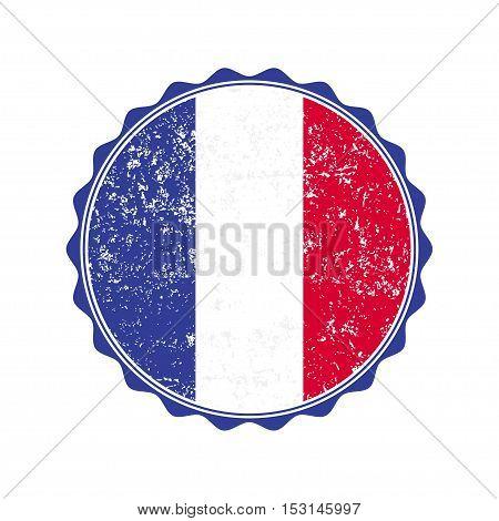 France flag stamp with grunge. Vector illustration