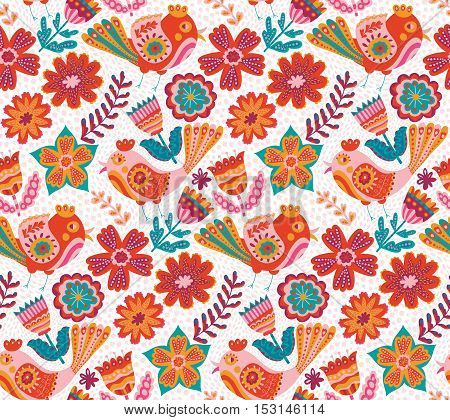 Vector flower pattern, seamless botanic texture, detailed flowers illustrations. All elements are not cropped and hidden under mask. Doodle style, spring floral background
