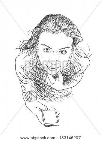 Teenage girl with smart phone looking up, Vector sketch Hand drawn illustration