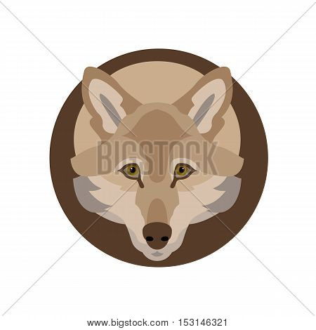 Wolf head vector illustration style flat side front