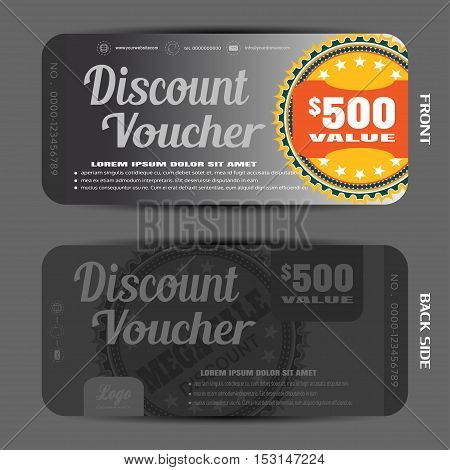 Blank of steel discount voucher vector illustration to increase sales on the gradient background with label.