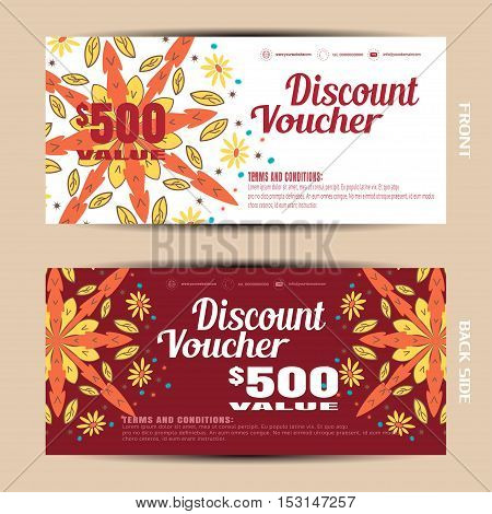 Vector blank of discount voucher on the autumn flowers background.