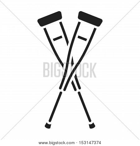 Crutches icon in black style isolated on white background. Medicine and hospital symbol vector illustration.