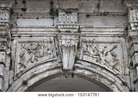 the upper part of the gate Podgoretsky castle in Ukraine closeup