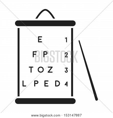 Table view icon in black style isolated on white background. Medicine and hospital symbol vector illustration.