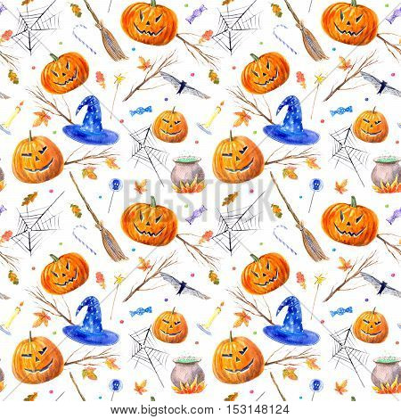 seamless pattern with pumpkin jack-o'-lantern, lollipop,broom,candle,broom,tree,autumn leaves and candy.halloween.watercolor hand drawn illustration.white background.