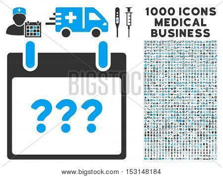 Blue And Gray Unknown Day Calendar Page glyph icon with 1000 medical business pictograms. Set style is flat bicolor symbols, blue and gray colors, white background.